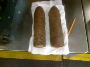 Two artillery rounds seized by the TSA around 8 April 2014 in O'Hare Airport, Chicago.